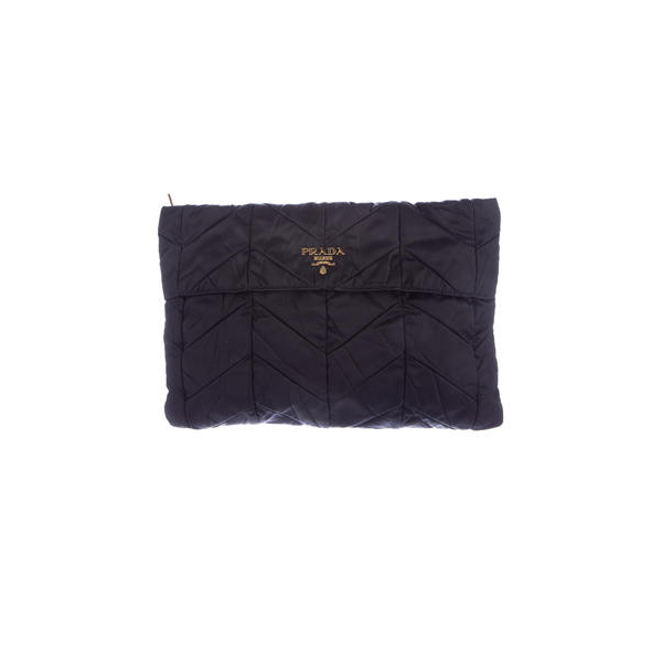 Women Prada CHEVRON TESSUTO CLUTCH Black Outlet Online