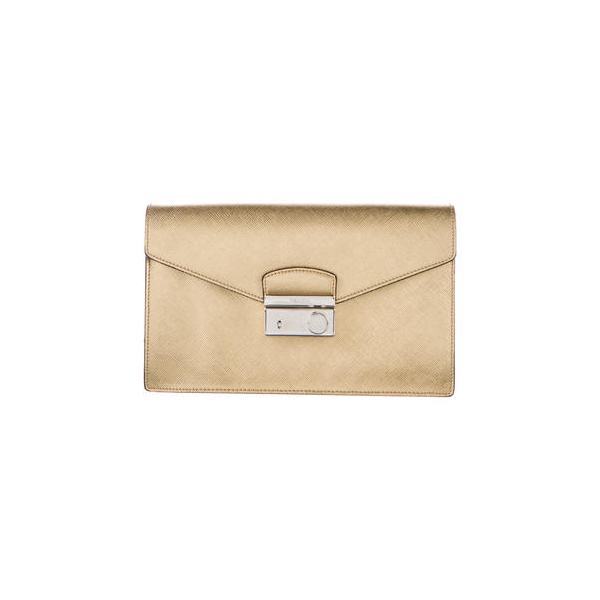 Women Prada SAFFIANO LEATHER ENVELOPE CLUTCH Gold Outlet Online