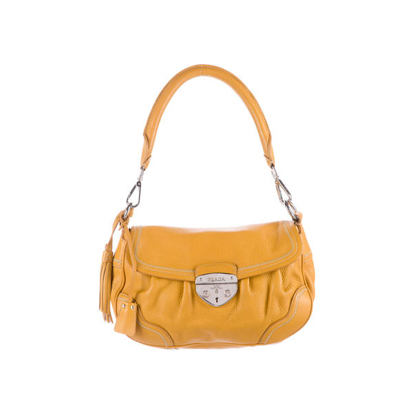 Women Prada VITELLO DAINO SHOULDER BAG Yellow Outlet Online